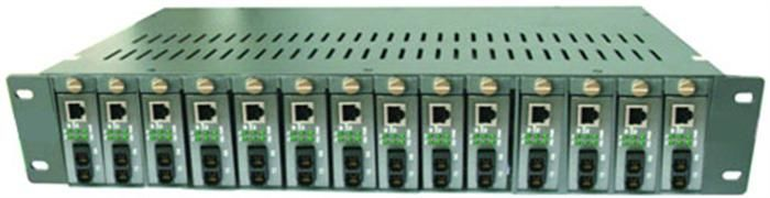 Çin 14 Slots Single / Dual Optical Fiber Media Converter 50 ~ 60HZ Tedarikçi